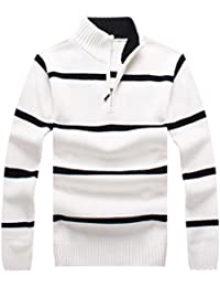 Men's New High Collar Stripe Half Zip Knitted Sweater