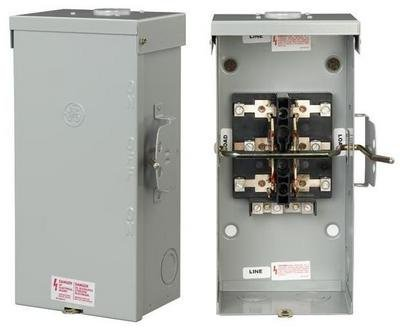 GE TC10324R 3 Wire 2 Pole Non-Fusible Emergency Power Transfer Switch 240 Volt AC 200 Amp NEMA 3R Spec-SetterTM (200 Amp 3 Phase Manual Transfer Switch)