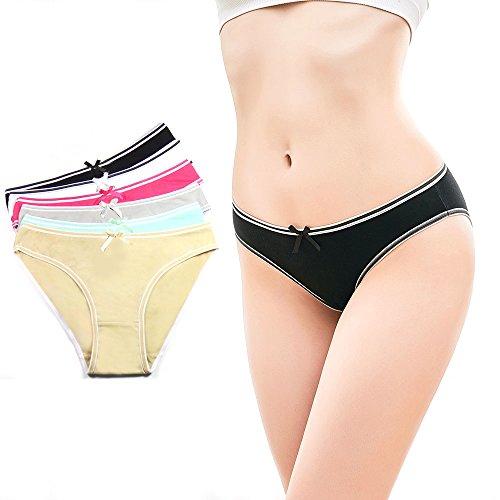 Lady Cotton Panties Underwear Bikini, Seamless Soft Low Waist Briefs Hipster Comfort Bikini Underwear for Women 6 Pack Seamless Low Rise Bikini Panties