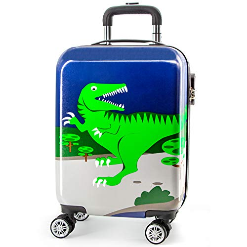 Lttxin Kids' Luggage 19 inch Polycarbonate Carry On Rolling Suitcae Hard Shell For Boys (Cute Dinosaur-Perfect Printing)