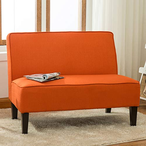 - YongQiang Living Room Settee Loveseat Sofa Cushioned Upholstered Linen Casual Couch with Wood Legs Orange