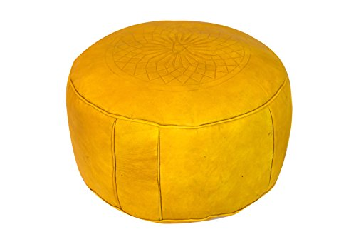 yellow Moroccan leather round pouf