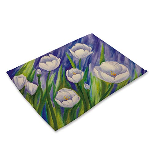 Simmia Home Placemats for Kitchen Table, Set of 6, Heat Insulation Non-Slip Cotton and Linen Placemats for Kitchen and Dining Room Painted Flowers MP0031-8 (Uk Rattan Placemats)