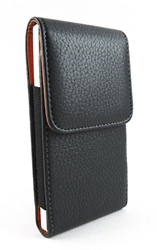 Samsung Galaxy S9 S8 Vertical Black/Brown Soft Faux Leather Case Carrying Pouch with Rotatable Belt Clip Holster { Great fit for Samsung Galaxy S8 S9 naked phone }