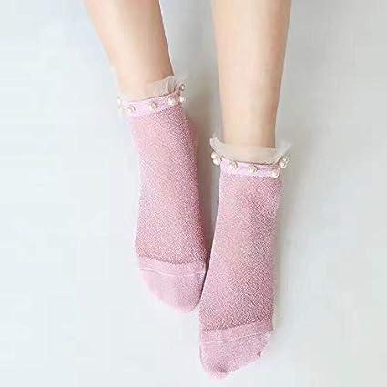 Blue Stones Summer Autumn Fashion Girls Socks Womens Silver Silk Pearl Socks Ladies Crystal Calcetines Crystal