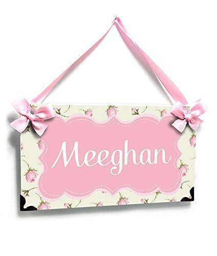 Customized Girl Room Door Plaque Pale Green and Pink Floral Pattern, Pink Shabby Frame