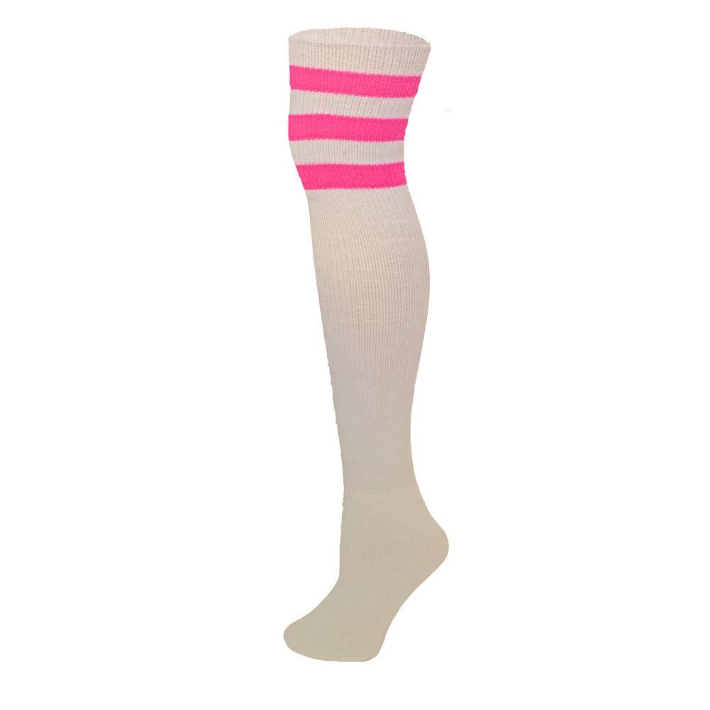 0cabda3b42 Amazon.com  AJs Classic Triple Stripes Retro Thigh High Tube Socks - Black