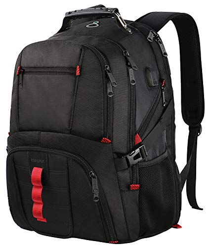 Extra Large Backpack,TSA Friendly Durable Travel Computer Backpack with USB Charging Port/Headphones Hole for Men&Women,Water-Resistant Big Business College School Bookbag Fits 17 Inch Laptops ()