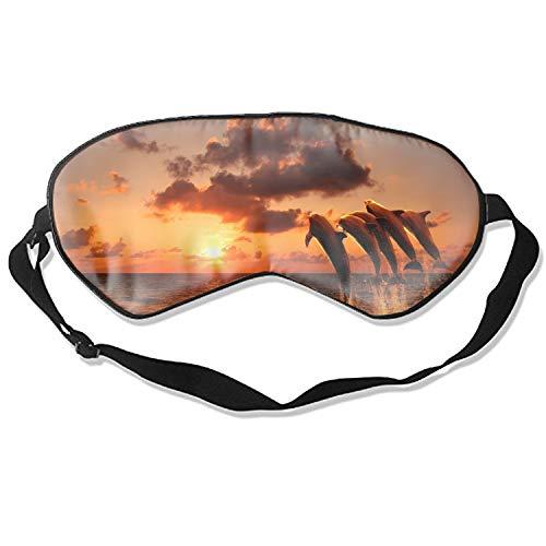 Sleeping Eyeshade Beautiful Sunset with Dolphins Eye Mask Blindfold Cover Sleep Blinder for Men and Women