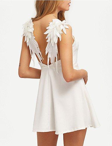 Altura Mujer Mujer Una Blanco De De Vestido Fiesta Fiesta Inelástica La Partido Gran Línea Mangas Sin De Vestido JIALELE 8qUEwWxTZ