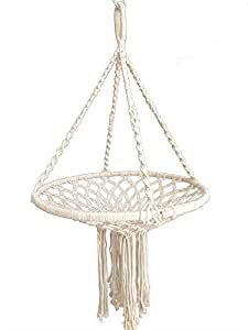 Water Plant Hanger Macrame Cotton For Indoor, Living Room, Kitchen, Deck, Patio, Low Ceiling and Fits Round Tray Pot , Unique Design and Hand Knotted (Without the white tray pot (35CM)