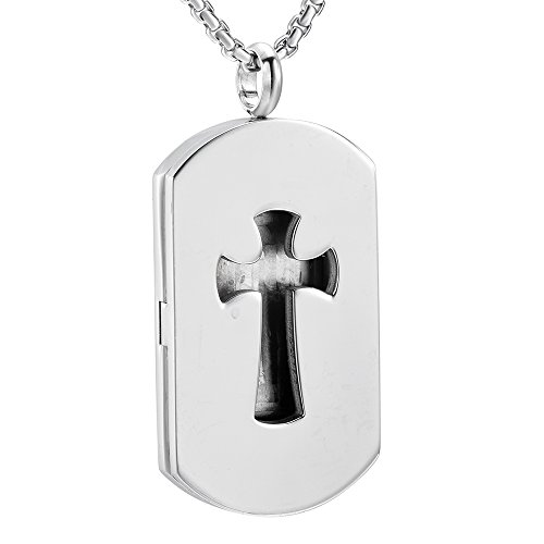 (EternityMemory Cross & Dog Tag Stainless Steel Essential Oil Diffuser Locket Necklace For Men + Refill Pads)