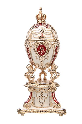 (danila-souvenirs Russian Faberge Style Egg/Trinket Jewel Box with Lions & Russian Emperor's Crown red)