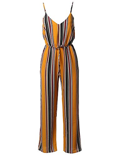 Awesome21 Casual Stripe Printed Wide Leg Camisole Jumpsuit Romper Mustard - Stripe Jumpsuit