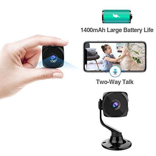 MINIKEAN Spy Camera Wireless Hidden Small Tiny Security Cameras 1080P HD Home Mini WiFi Nanny Cam with Talk Two Way Night Vision Indoor Motion Detection Covert Surveillance Video Camera for Cell Phone (Camera Smartphone Mini Security)