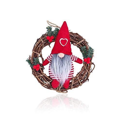 N / A Coronas Navideñas, Coronas de Ppuerta de Navidad, Corona de decoración de árbol de Navidad, muñeco de Mago Malvado Lindo, Φ 22cm, para Decorar Puertas, Ventanas, árboles de Navidad
