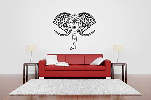 Vinyl Sticker Elephant Head Ornament Animal Africa Wild Creature Forest Jungle Zoo Kids Room Baby Nursery Mural Decal Wall Art Decor SA2407