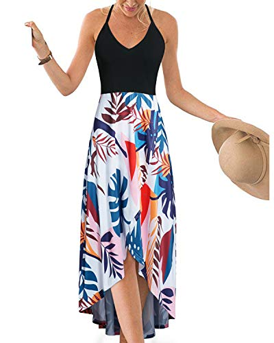 (KILIG Womens V Neck Sleeveless Asymmetrical Patchwork Floral Maxi Dresses (Floral-7,XL))
