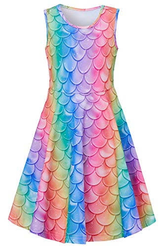 Funnycokid Girls Mermaid Dress Size 10 Teens Youth Fish Scale Sundress Summer Holiday Beach Sleeveless Dresses