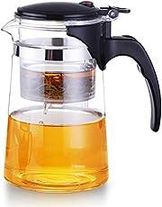 BIASTNR Glazen Filter Theepotje, Theeketel met Uitneembare Voedselkwaliteit RVS Infuser & Deksel voor Bloei en Losse Blad Thee, 24,6 oz / 700 ml