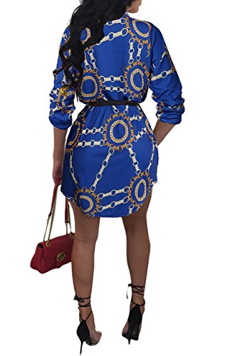 Print Shirt Dress Womens Blouse Mini Long Button Dress Floral 1 Down Collar Blue Remelon FnP0xpP