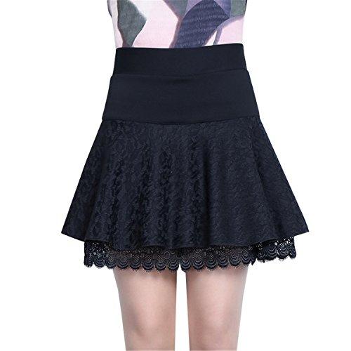 Tellerrock Mujer Para Liso Dabag Falda Negro 5R181S