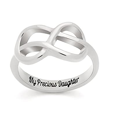 "Infinity Ring for Daughter, Double Infinity Ring, Promise Ring ""My Precious Daughter"" Engraved Gift for Daughter Ring Size 6 to 9"