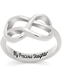 """Infinity Ring for Daughter, Double Infinity Ring, Promise Ring """"My Precious Daughter"""" Engraved on Inside"""