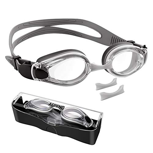 aegend Swim Goggles, Flat Lens Swimming Goggles with 3 Adjustable Nose Pieces, No Leaking Anti-Fog UV Protection Swim Goggle for Adult Men Women Youth Kids Child, Gray Clear Lens