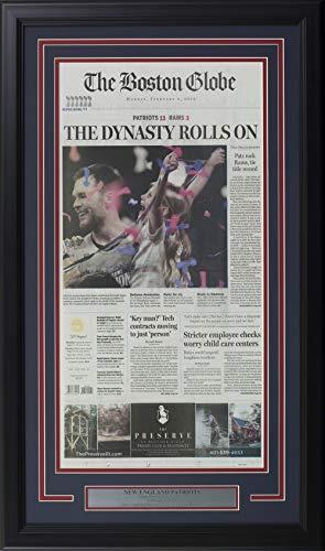 New England Patriots Framed 18x30 Feb 4 2019 Super Bowl 53 Boston Globe Paper from Sports Integrity