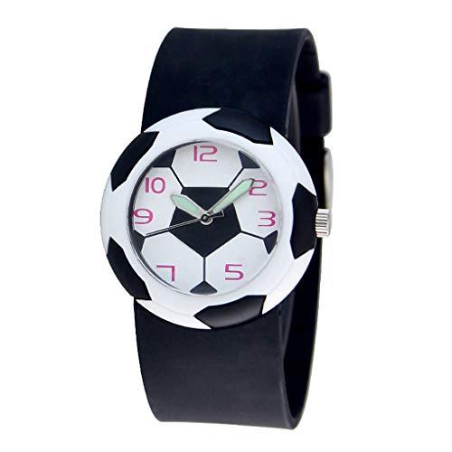 qotone Boy Cute 3D Football Cartoon Watch Children Korean Style Luminous Analog Wrist Watch Kids Student Sport Wrist Clock