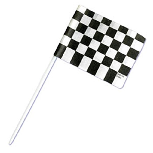 Oasis Supply 144 Count Cake/Cupcake Topper, Black and White Racing Checkered Flags