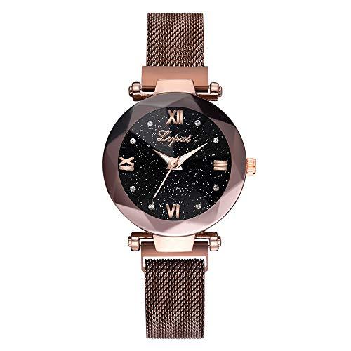 Women Casual Watch,Luxury Analog Quartz Starry Sky Stainless Steel Mesh Belt ()