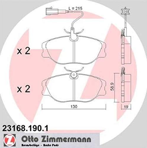 Zimmermann 23168 190 1 Serie Bremsbeläge Vorne 1 Sensor Inklusive Platte Dämpfend Chefsessel Auto