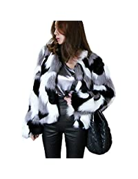 FUNOC Womens Winter Colorful Faux Fur Coat Jacket Cardigan Outerwear Party Club