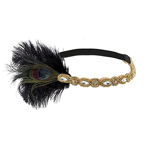 Song Qing Retro Feather Flapper Headpiece 1920s Great Gatsby Party Crystal Bead Headband Hair Band -