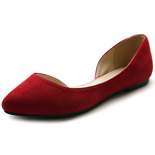 Comfort Toe suede Faux Red Ollio Women's Flat Pointed D'orsay Shoe Ballet wq0tWUB