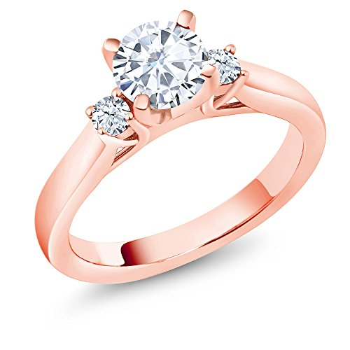 Created Moissanite Created Sapphire 18K Rose Gold Plated Silver 3-Stone Ring by Gem Stone King