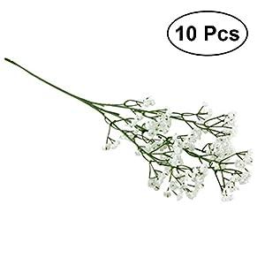10Pcs Artificial Baby Breath Gypsophila Wedding Decorative Flowers Fake Bride Bouquets Real Touch White Flowers DIY Home Arrangements Decor (White) 89