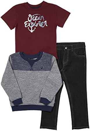 Nautica Boys' French Terry Pullover, Tee and Denim Jogger Set