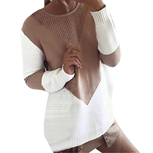 Patons Beige Knitting Yarn (Mallcas Women's Sweater Warm Knit Pullover Loose Sexy Cropped Cable Jumper Sweater (S, Khaki))