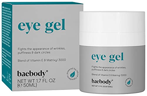 Baebody Eye Gel for Under and Around Eyes to Smooth Fine Lines, Brighten Dark Circles and De-Puff Bags with Peptide Complex and Soothing Aloe, 1.7 Fl Oz