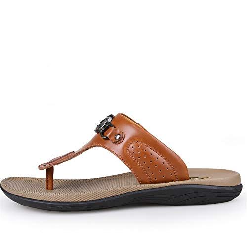 Pantofole Uomo In EU Pantofole Per 40 Marrone Dimensione spiaggia Colore Da Traspiranti Libero Scarpe pantofole Marrone Wagsiyi Tempo Pelle Il da gnHzt