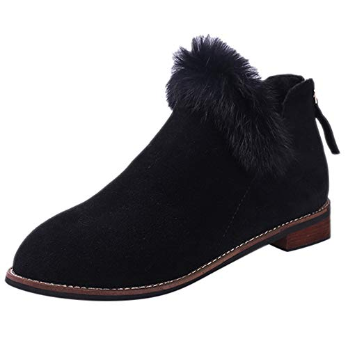 LONGDAY ⭐ Women Winter Ankle Boot Ladies Snow Boot Martin Bootie Faux Fur Plush Zipper Footwear Warm Cotton Chukka Boot