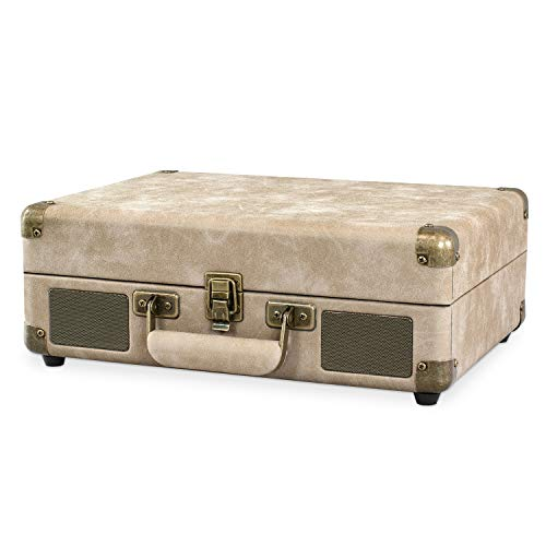 Victrola Vintage 3-Speed Bluetooth Portable Suitcase Record Player with Built-in Speakers | Upgraded Turntable Audio Sound| Includes Extra Stylus | Taupe (VSC-550BT-RD)