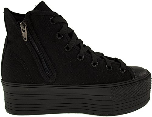 Platform Zipper Holes Women's Sneakers 7 Top Canvas C50 All Black Maxstar High 7qFwxCZx