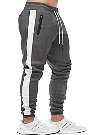 KEFITEVD Men's Sport Pants Workout Jogger Sweatpants Stretch Slim Fit Running Pants with Pockets - Gray - Small