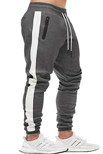 KEFITEVD Running Pants Men Big and Tall Workout Sweatpants Cotton Gym Jogger Pants with Zip Pockets Dark Gray