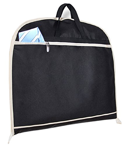MISSLO Suit Garment Bag for Travel 42'' Zippered Clothes Cover (3 Packs, Black) by MISSLO (Image #3)