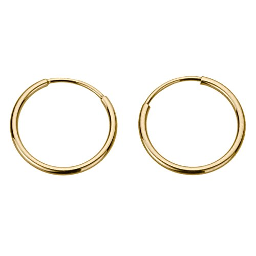 14K Gold 1.25mm Yellow, White or Rose Gold Thin Continuous Endless Hoops Plain Round Tube Hoop Earrings